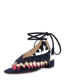 Flat Leaves Ankle-Wrap Thong Sandal, Multi/Navy/Fuchsia