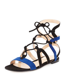 Two-Tone Caged Flat Suede Sandal, Black/Blue