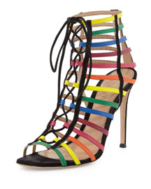 Strappy Suede Caged Sandal, Rainbow