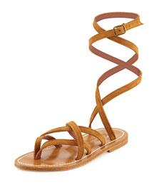 Zenobie Ankle-Wrap Flat Gladiator Sandal, Bran