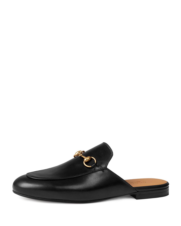 Gucci Princetown Leather Horsebit Mule Slipper Flat, Black, Women's, Size: 35.5B/5.5B