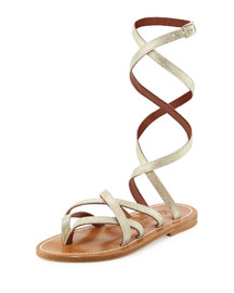 Zenobie Ankle-Wrap Flat Gladiator Sandal, Platine
