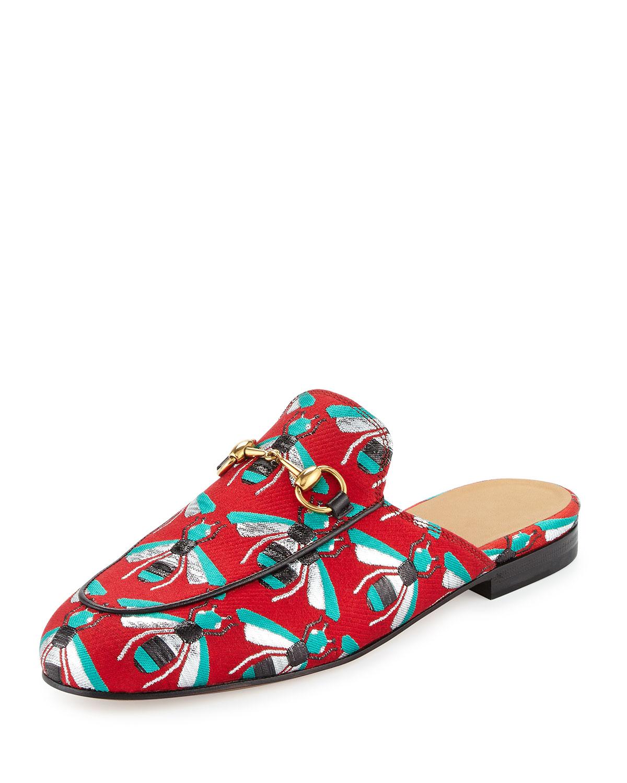 Gucci Princetown Jacquard Horsebit Mule Slipper Flat, Red, Size: 41.0B/11.0B