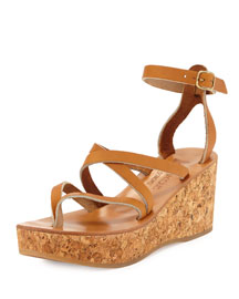 Odelyne Strappy Cork Wedge Sandal, Natural