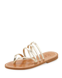 Sycomore Strappy Flat Thong Sandal, Platine