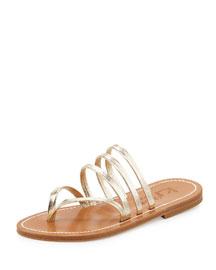Sycomore Strappy Flat Thong Sandal, Platine