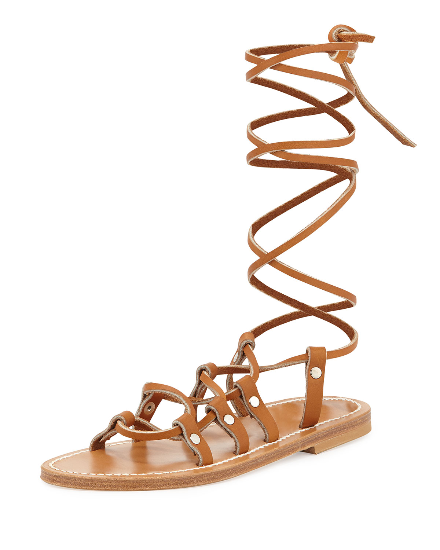 K. Jacques Chauvet Lace-Up Flat Sandal, Natural, Size: 39.5B/9.5B