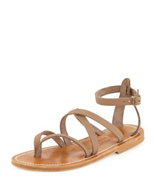 Epicure Strappy Flat Gladiator Sandal, Taupe
