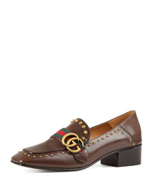 Peyton Studded Square-Toe Loafer, Brown