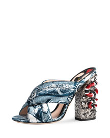 Webby Satin Snake-Heel Mule Sandal, Blue