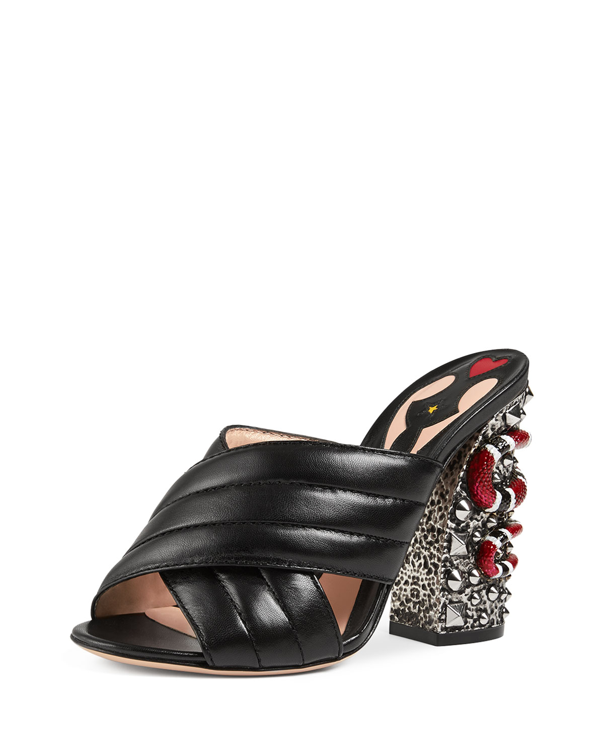 Gucci Webby Quilted Leather Snake-Heel Mule Sandal, Black, Women's, Size: 38.0B/8.0B