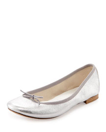 Cendrillon Metallic Leather Ballerina Flat, Silver (Argento)