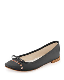Devie Grommet Leather Ballerina Flat, Black (Noir)