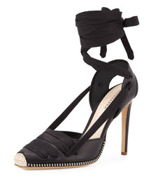 Leather d'Orsay Espadrille Pump, Black