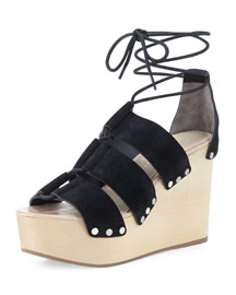 Ines Wooden Wedge Platform Sandal, Black