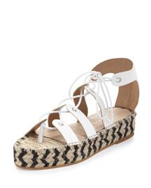 Iggy Lace-Up Platform Espadrille Sandal, White