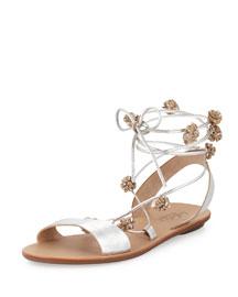 Saskia Flat Pompom Gladiator Sandal, Silver
