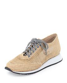 Roxie Raffia Lace-Up Sneaker, Natural