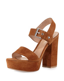 Suede Two-Band Platform Sandal, Luggage