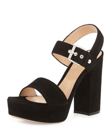Suede Two-Band Platform Sandal, Black