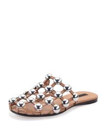 Amelia Studded Leather Web Sandal, Nude