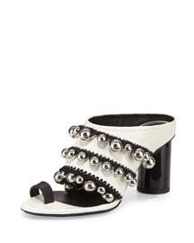 Toe-Ring Embellished Sandal, White