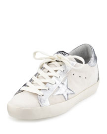 Star-Embellished Leather Low-Top Sneaker, White/Silver