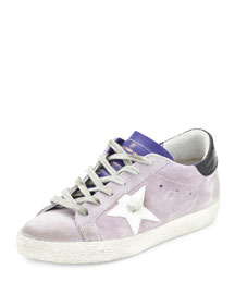 Star-Embellished Leather Low-Top Sneaker, Light Purple/White