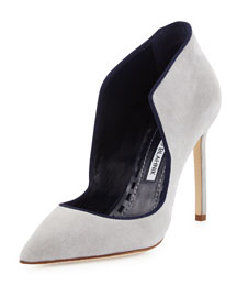 Espedal Suede High-Collar Pump, Gray