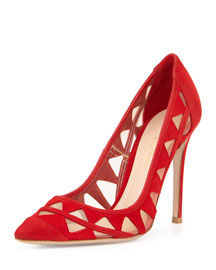 Pyramid Cutout Suede Pump, Red