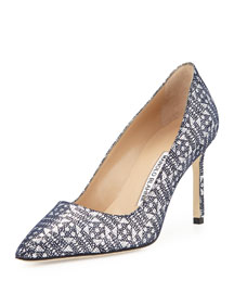 BB Suede Lam� 90mm Pump, Navy/Silver