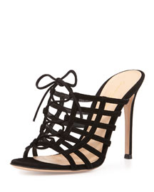 Caged Suede Mule Pump, Black/Nude