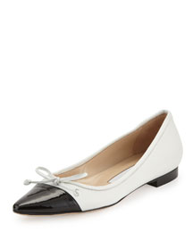 Wendy Pointed-Toe Ballerina Flat, White/Black