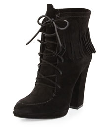Lace-Up Suede Fringe Bootie, Black