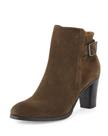 Ada Suede Tabbed Ankle Boot, Olive