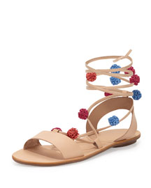 Saskia Flat Pompom Gladiator Sandal, Wheat/Bright Multi