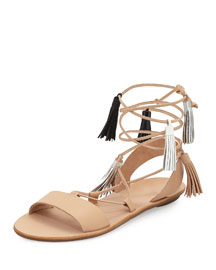 Saskia Flat Tassel Gladiator Sandal, Wheat/Black Mix