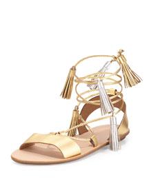Saskia Flat Tassel Gladiator Sandal, Gold/Silver