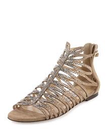 Kaye Crystal Laser-Cut Flat Sandal, Nude
