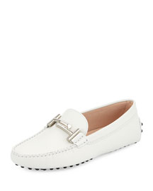 Leather Gommini Driving Flat, White