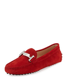 Suede Gommini Driving Flat, Red