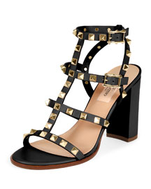 Rockstud Leather Block-Heel Sandal, Black