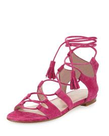 Romanflat Suede Flat Gladiator Sandal, Geranium