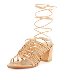 Knotsnice Leather Block-Heel Sandal, Pecan