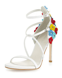 Wildthing Floral Leather Leather Sandal, Snow/Multi