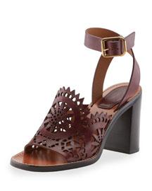 Kelby Crocheted Leather Block-Heel Sandal, Bordeaux