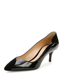 Asymmetric Suede & Patent 55mm Pump, Black (Nero)