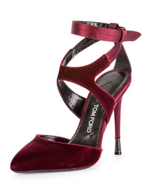 Velvet Ankle-Strap 105mm Pump