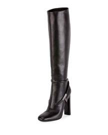 Tall Leather 105mm Boot, Black