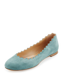 Scalloped Suede Ballerina Flat, Blue Lake